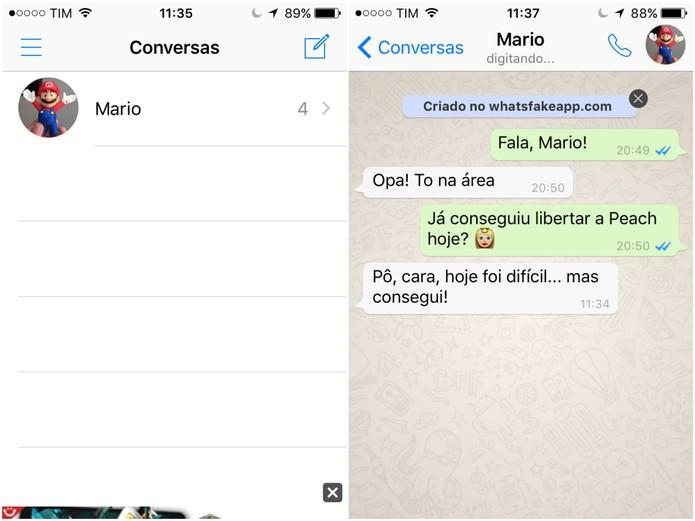 Conversa falsa criada no WhatsFake (Foto: Reprodução/Lucas Mendes)