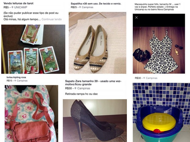 Roupas e acessórios vendidos no Brechó das Alunas da Unicamp (Foto: Reprodução/Facebook)