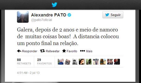 Alexandre Pato no twitter (Foto: Reprodução/ Twitter)