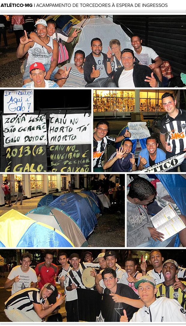 Mosaico acampamento torcida Atlético-Mg fila ingressos (Foto: Alexandre Alliatti)