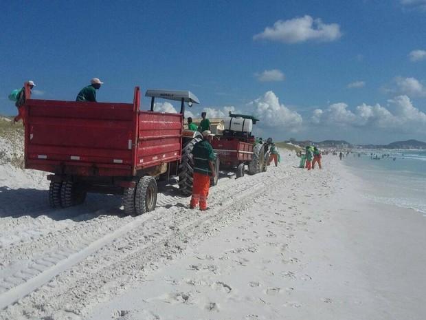 Praias de Cabo Frio, RJ, receberam a ação de limpeza dos agentes da Prefeitura (Foto: Divulgação/Comunicação Prefeitura de Cabo Frio)