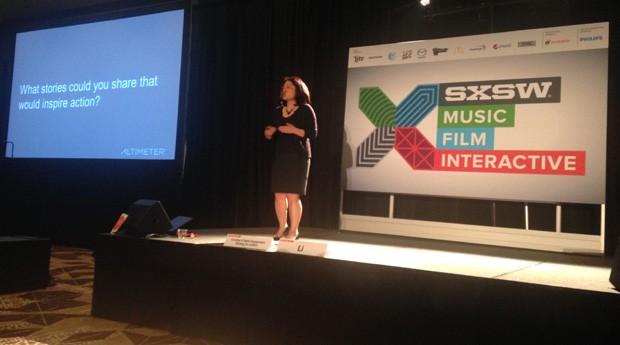 A autora de The Engaged Leader, Charlene Li, fala para empreendedores no SxSW (Foto: Gabriela Hunnicutt )