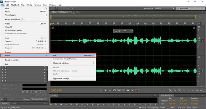 Você pode exportar o arquivo wave em diversos formatos disponíveis no Audition. (Foto: Reprodução / Gabriel Galli)