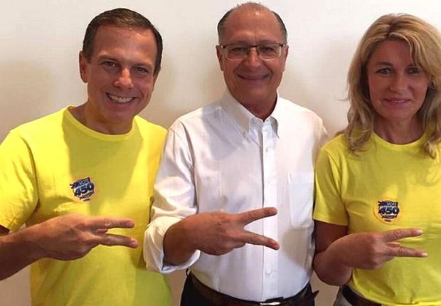 João Doria ao lado do governador paulista Geraldo Alckmin, antes de votar nas eleições municipais (Foto: Divulgação)