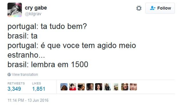 BR x PT: Brasil e Portugal 'brigam' no Twitter por autoria de meme (Foto: Reprodução/Twitter)