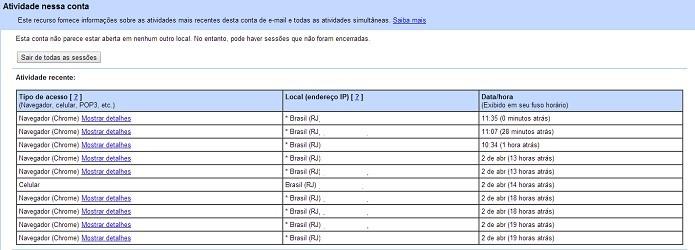 É possível visualizar os últimos 10 acessos aos Gmail (Reprodução/Taysa Coelho)