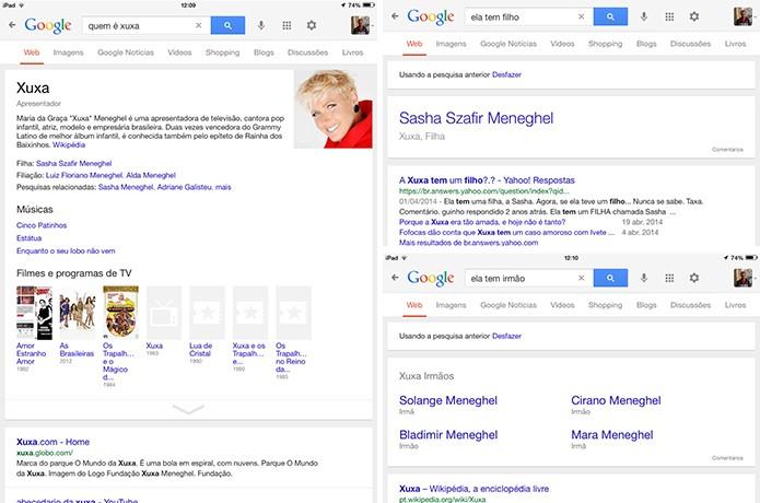 Google agora também é capaz de refinar pesquisas com base na última pergunta do usuário (Foto: Reprodução/Elson de Souza)