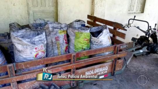 Polícia Ambiental apreende 250 sacos de carvão vegetal em Cabo Frio, no RJ