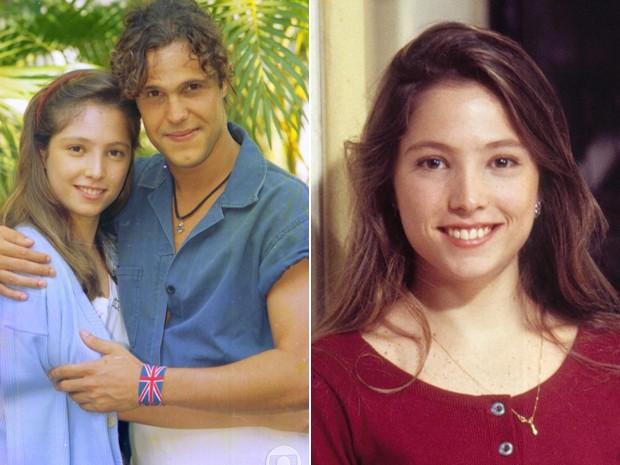 Dois momentos da ex-atriz nos bastidores da TV (Foto: CEDOC / TV Globo)