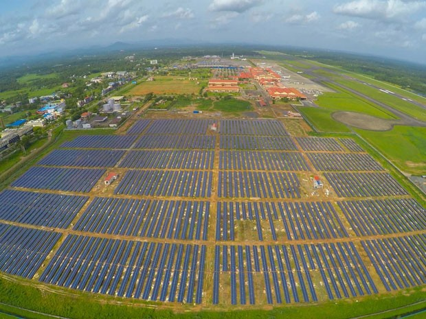 Aeroporto Internacional Cochin, na Índia, será abastecido por mais de 46 mil painéis solares (Foto: Reprodução/Facebook/Cochin International Airport Limited (CIAL))