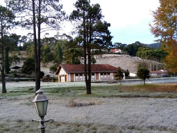 Monte Verde volta a registrar temperatura negativa no Sul de Minas (Foto: Reprodução Whatsapp)