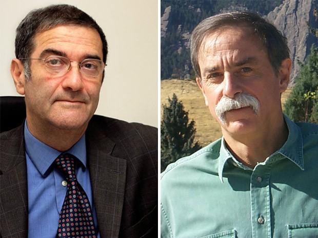Serge Haroche (direita) e David J. Wineland (Foto: Colllège de France e NIST/Divulgação)