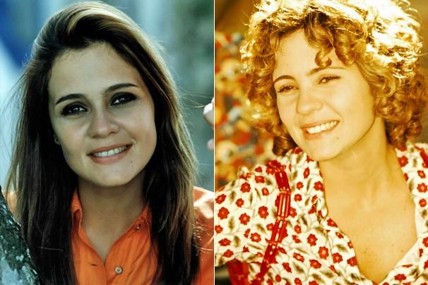 A atriz como Helena, de A Indomada (1997), e ao viver Sandrinha, em Torre de Babel (1998) (Foto: CEDOC Globo)