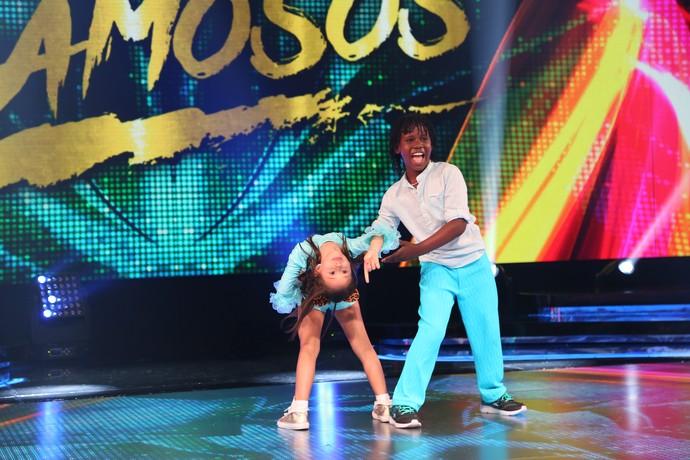 A dupla fez bonito no palco do 'Domingão' (Foto: Carol Caminha/Gshow)