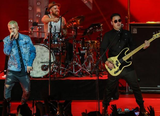 A banda NX Zero em gravação de DVD (Foto: Manuela Scarpa e Marcos Ribas/Brazil News)