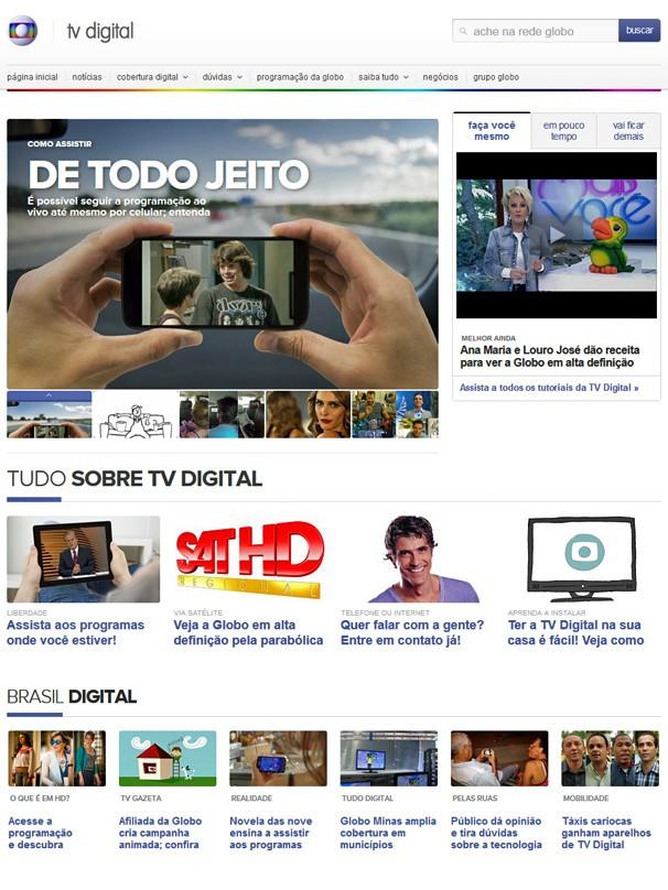 Novo site da TV Digital da Globo ajuda você a instalar e a assistir a nossa prgramação com a qualidade digital (Foto: Reprodução)