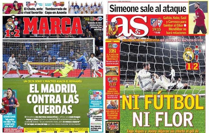 """BLOG: """"Contras as cordas"""": derrotas seguidas fazem imprensa de Madri criticar o Real"""