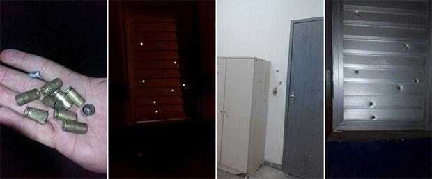 Tiros disparados contra a base da PM atravessaram a janela e atingiram a parede e um armário  (Foto: Divulgação/Polícia Militar)