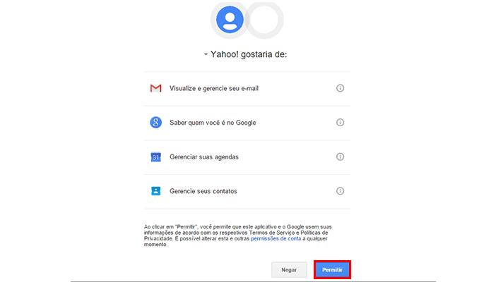 Permita que o Yahoo acesse o seu Gmail com segurança (Foto: Reprodução/Paulo Alves)