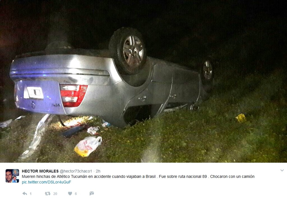 TRAGÉDIA: Em acidente de carro a caminho do Brasil para jogo com Palmeiras dois torcedores do Tucumán morrem.
