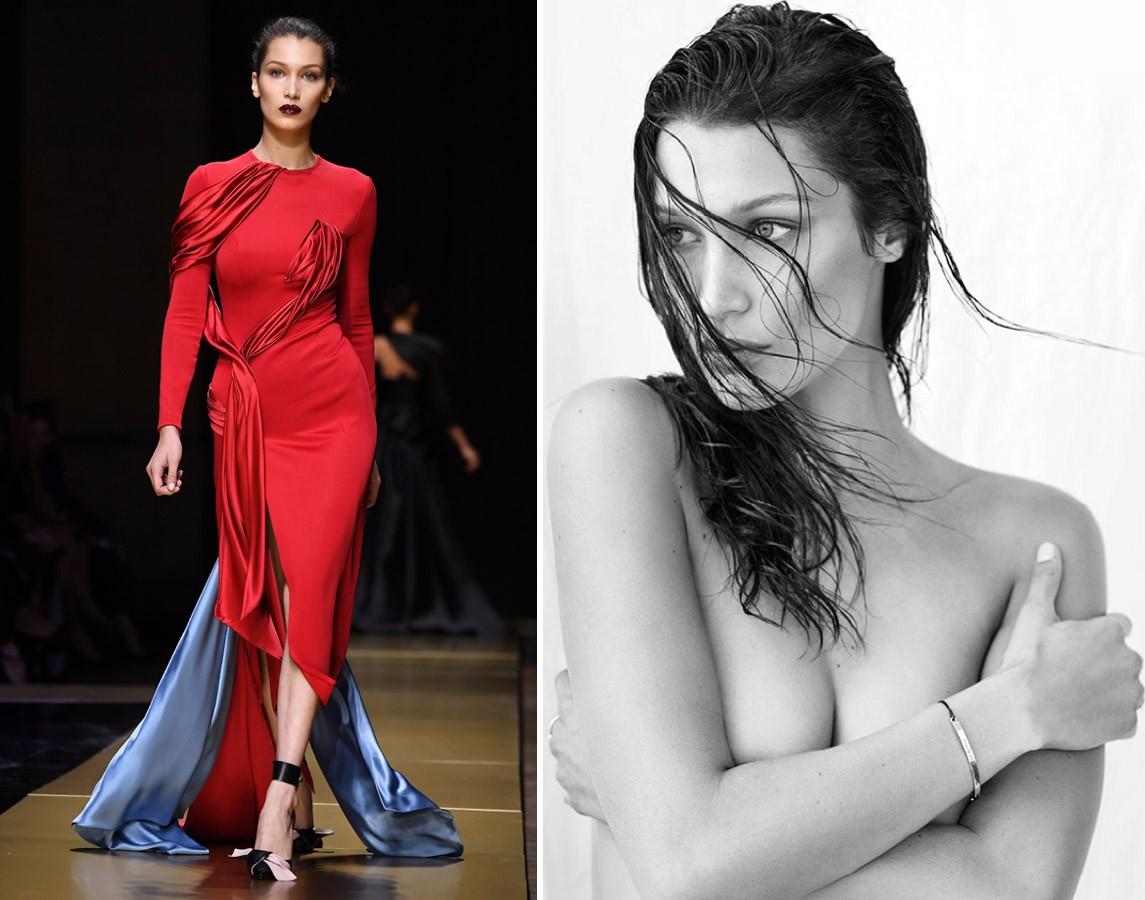 Femme fatale na passarela da Nina Ricci vs. retrato nu para a Flare Magazine (Foto: Getty Images e Reprodução)