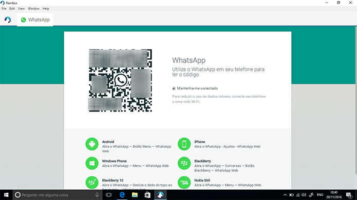 Faça login no seu aplicativo de mensagens normalmente (Foto: Reprodução/Elson de Souza)