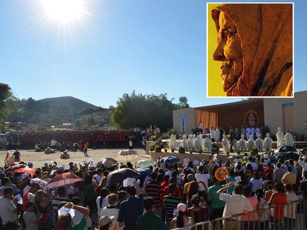 Nhá Chica é beatificada diante de 50 mil pessoas. (Foto: Montagem com fotos G1)