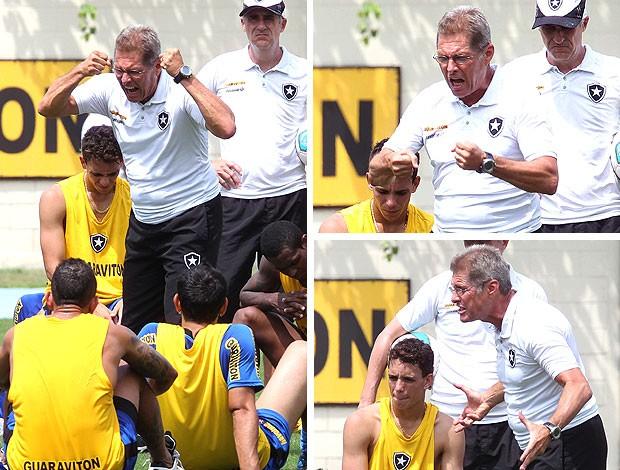 Oswaldo de Oliveira no treino do Botafogo com os jogadores (Foto: Ivo Gonzalez / Agencia O Globo)