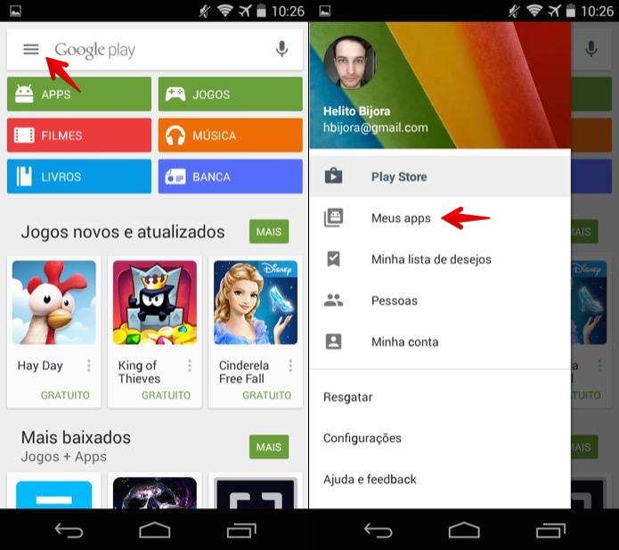 Acesse o Google Play e abra a seção de aplicativos instalados (Foto: Reprodução/Helito Bijora)