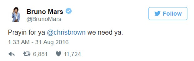 Tweet de Bruno Mars (Foto: Reprodução)