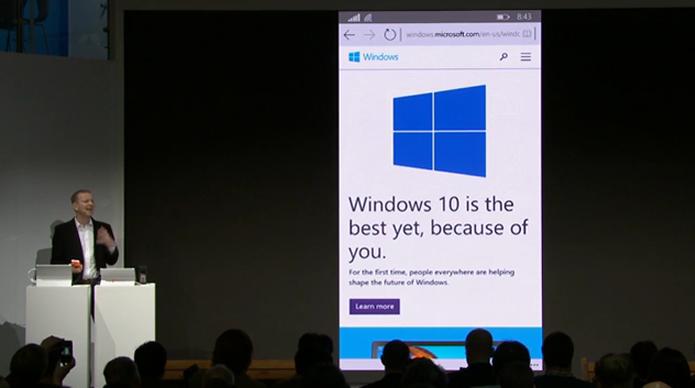 O Spartan, navegador que vai substituir o Explorer do Windows 10 em diante, é exibido no MWC (Foto: Reprodução)