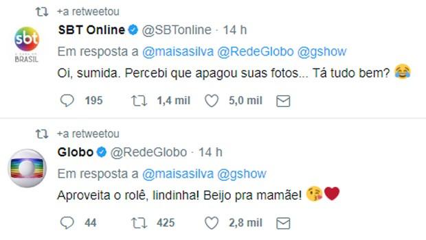 Redes sociais do SBT e da Globo comentam rolê de Maisa Silva (Foto: Reprodução/Twitter)