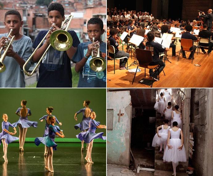 Muitos jovens e crianças de Paraisópolis fazem parte de projetos culturais, como a Orquestra (acima) e do Ballet (abaixo) (Foto: Fabio Heinzenreder/Tomas Kolisch/Alex Almeida/Divulgação)