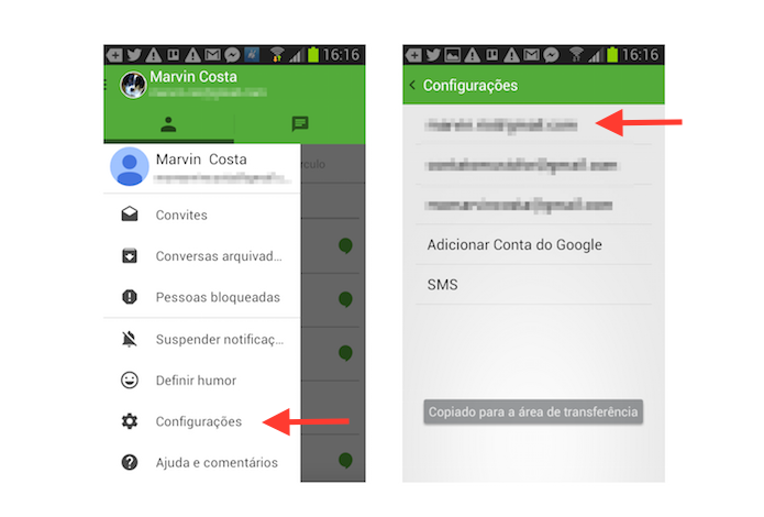 Acessando as configurações da conta no Hangouts para Android (Foto: Reprodução/Marvin Costa)