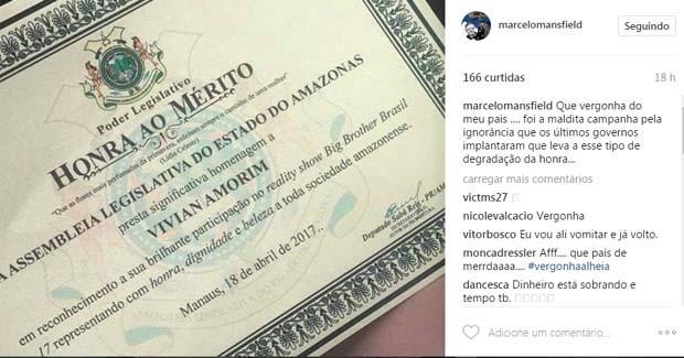 Post de Marcelo Mansfield (Foto: Instagram / Reprodução)