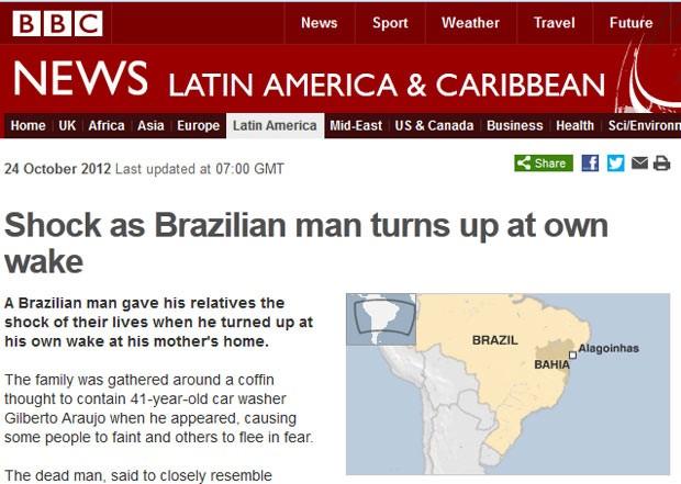 A rede britânica BBC destaca em site história do brasileiro que foi ao 'próprio velório' (Foto: Reprodução)