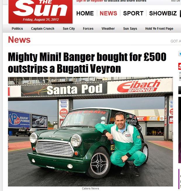 Stuart Meads adaptou o Mini Cooper que tem até para-quedas (Foto: Divulgação)