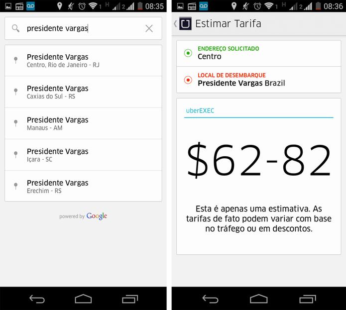 Estimativa do valor da corrida no Uber (Foto: Reprodução/ Marcela Vaz)