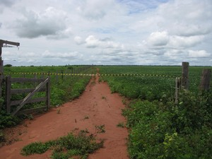 Propriedade rural abandonada e interditada dentro da reserva após desintrusão dos ocupantes não-índios (Foto: Wanderlei Dias Guerra / Mapa)