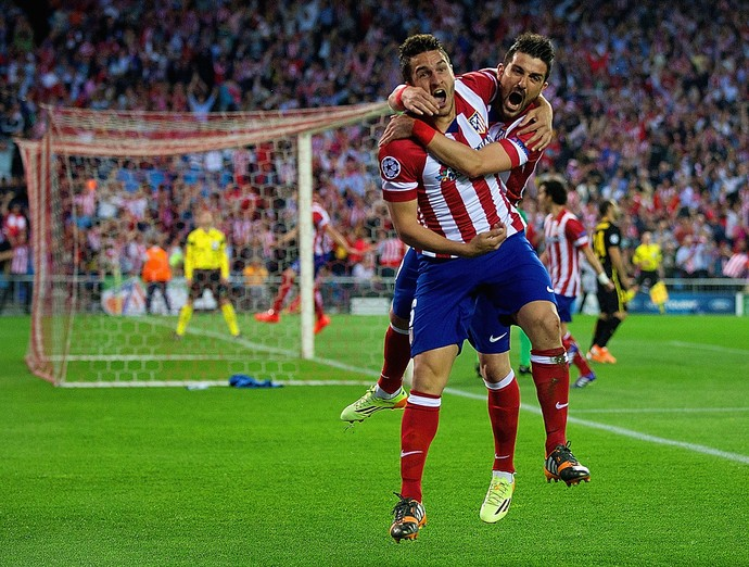 David Villa e Koke gol Atlético de Madrid x Barcelona (Foto: Getty Images)