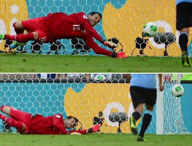 montagem Julio Cesar, penalti Brasil x Uruguai (Foto: AFP)