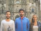 Trio de amigos encara desafio no Caminho de Santiago