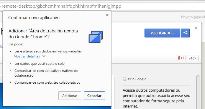 Instale o aplicativo de área de trabalho remota no Chrome (Foto: Reprodução/Helito Bijora)