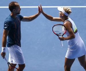 Bruno Soares e Elena Vesnina na final de duplas mistas do Aberto da Austrália (Foto: AP)