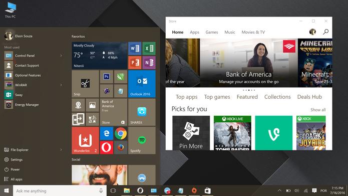 Windows 10 trouxe de volta app em janelas e visual clássico do menu Iniciar (Foto: Reprodução/Elson de Souza)