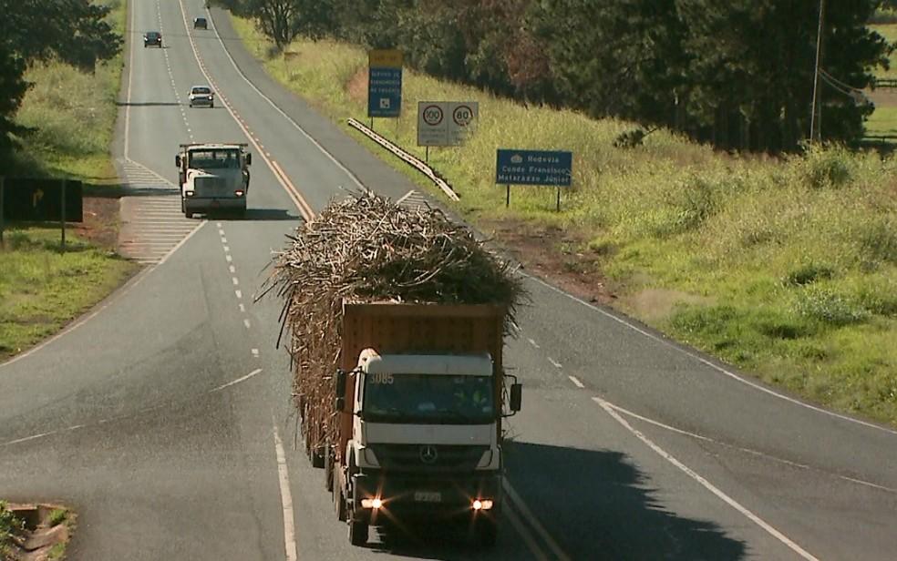 Caminhoneiros descumprem determinação e transportam cana-de-açúcar sem lona (Foto: Reprodução/EPTV)