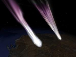 Concepção artística do retorno da Hayabusa (à esq.) e da cápsula com a amostra do asteroide (à dir.), sobre o sul da Austrália (Foto: Nasa / JPL)