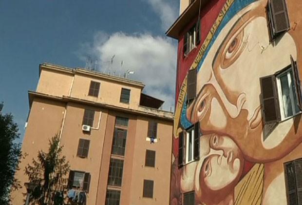 Murais transformam bairros pobres de Roma em galerias de arte a céu aberto (Foto: Reprodução/G1)
