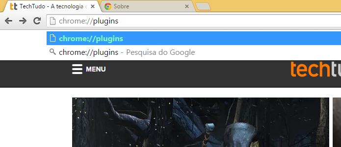 Acessando a página de plugins do Chrome (Foto: Reprodução/Helito Bijora)