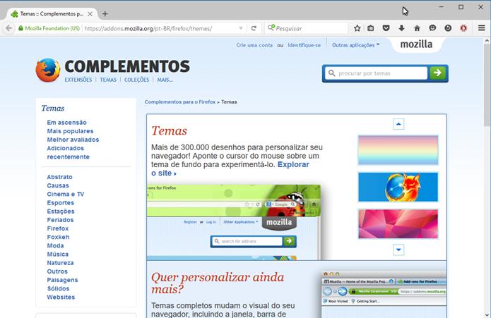 Acesse a página de temas da Mozilla (Foto: Felipe Alencar/TechTudo)